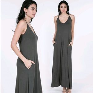 New Stretchy V Neck Maxi Dress with Pockets